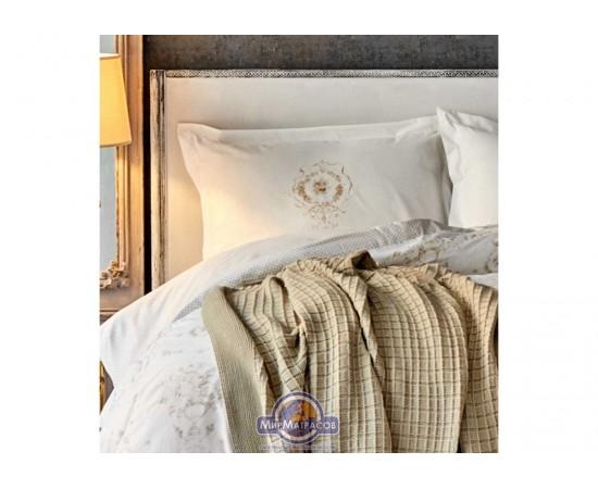 Набор постельного белья с пледом Karaca Home - Quatre delux gold 2020-1 золотой евро