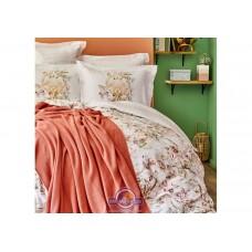 Набор постельного белья с пледом Karaca Home - Elsira blush 2020-1 персиковый евро