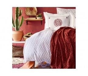 Набор постельного белья с пледом Karaca Home - Alley kiremit 2020-1 кирпичный евро