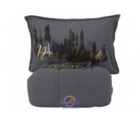 Набор постельного белья с одеялом Karaca Home - New York gri 2019-2 серый полуторный