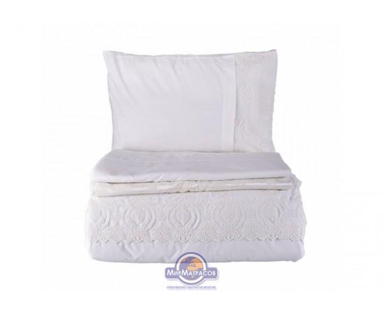 Набор постельного белья с покрывалом пике Karaca Home - Carla ekru 2019-2 молочный евро