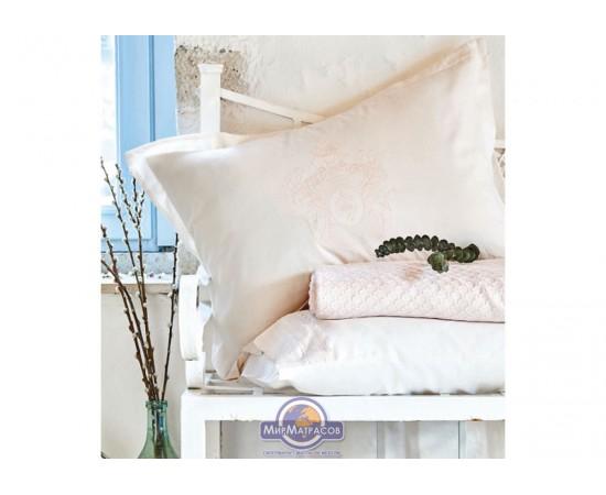 Набор постельного белья с покрывалом пике Karaca Home - Elonora pudra 2020-1 пудра евро