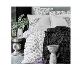 Набор постельного белья с пледом Karaca Home - Brave silver 2020-1 серебро евро