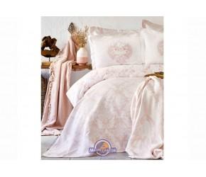 Набор постельное белье с покрывалом + плед Karaca Home - Quatre royal pudra 2020-1 пудра евро