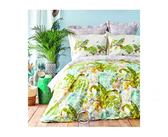 Постельное белье Karaca Home ранфорс - Efia yesil 2019-2 зеленый евро