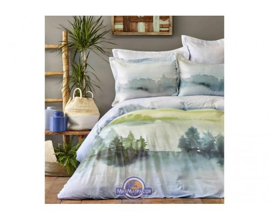 Постельное белье Karaca Home ранфорс - Lindara yesil 2019-1 зеленый пано евро