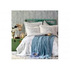 Набор постельного белья с пледом Karaca Home - Trella mavi синий евро