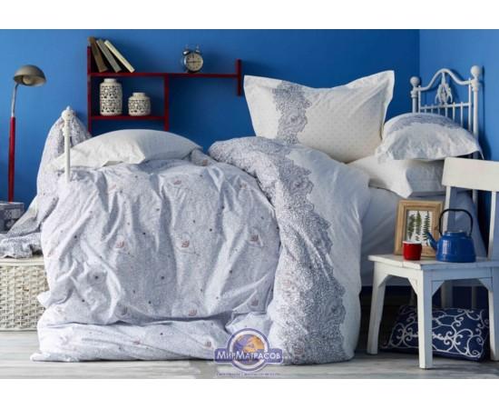 Постельное белье Karaca Home ранфорс - Simi mavi 2018-2 голубой евро