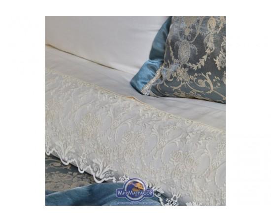 Набор постельного белья с покрывалом + плед Karaca Home - Trella mavi синий евро