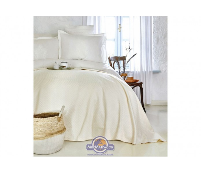Набор постельного белья с покрывалом пике Karaca Home - Elonora ekru 2020-1 молочный евро