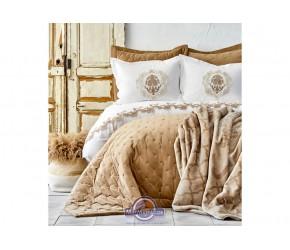 Набор постельного белья с покрывалом + плед Karaca Home - Chester 2020-1 bej бежевый евро
