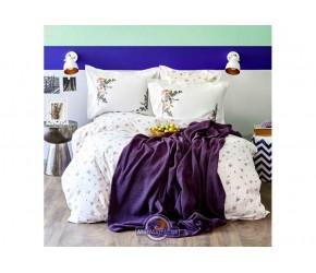 Набор постельного белья с пледом Karaca Home - Fertile lila 2020-1 лиловый евро