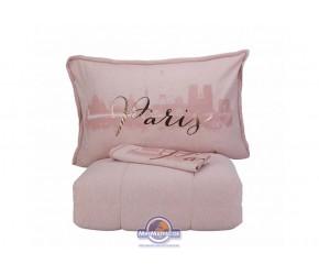 Набор постельного белья с одеялом Karaca Home - Paris pudra 2019-2 пудра полуторный