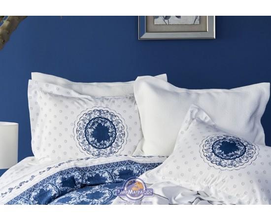 Постельное белье Karaca Home ранфорс - Belina mavi 2019-2 голубой евро (ПВХ)