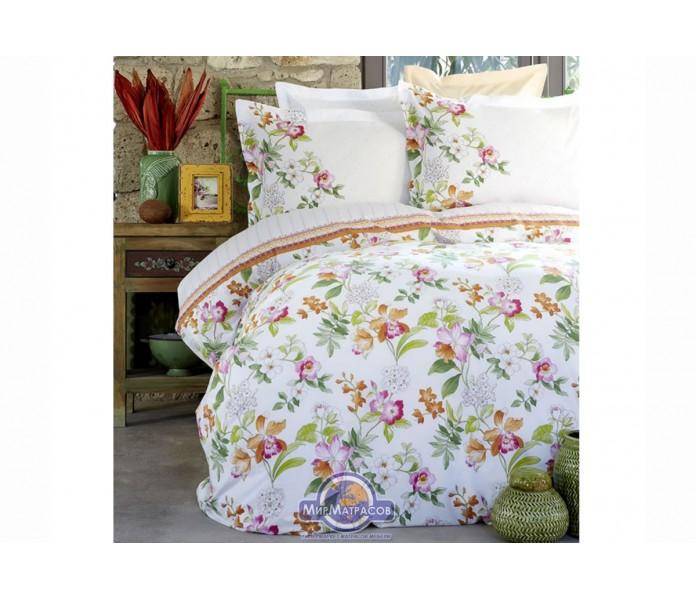 Набор постельное белье с покрывалом пике Karaca Home - Paradise orange 2018-2 jacquard полуторное
