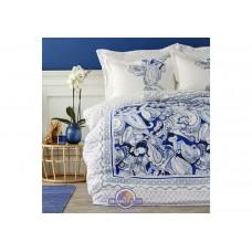 Постельное белье Karaca Home ранфорс - Disna pano mavi 2019-2 голубой евро