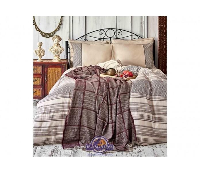 Набор постельного белья с покрывалом Karaca Home - Sadra bordo 2020-1 бордовый евро