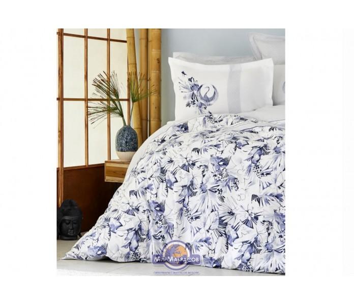Постельное белье Karaca Home ранфорс - Teru mavi 2019-2 голубой евро (ПВХ)