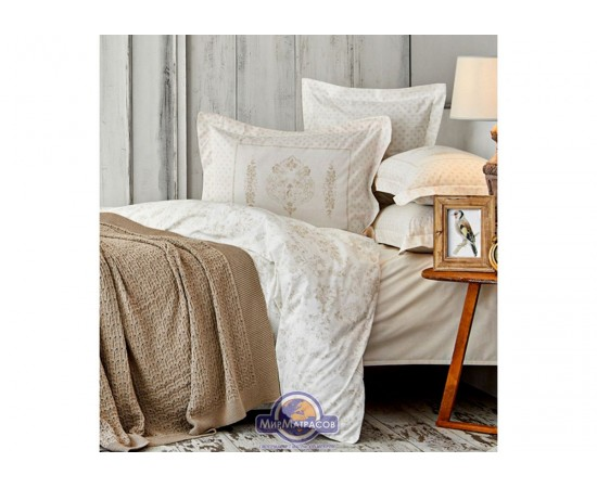 Набор постельное белье с пледом Karaca Home - Eldora gold 2020-1 золотой евро