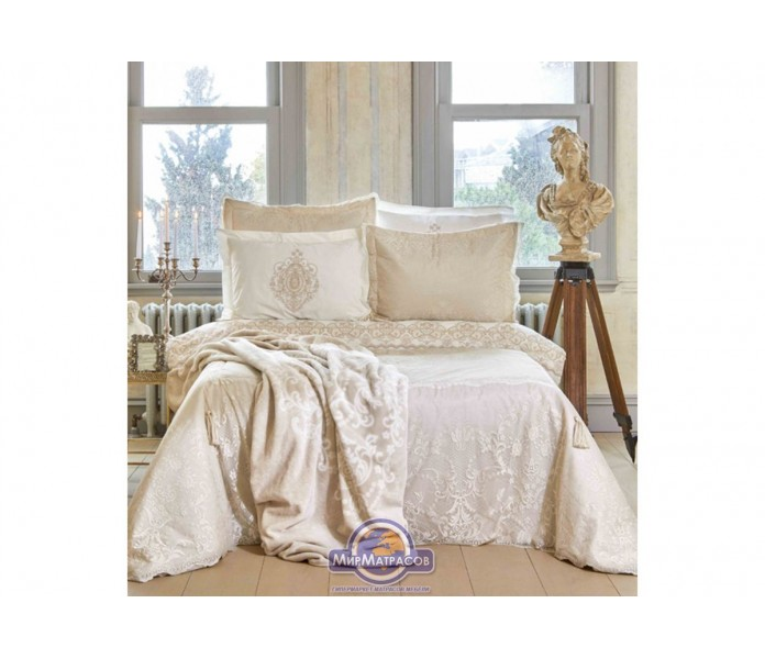 Набор постельного белья с покрывалом + плед Karaca Home - Desire bej 2020-1 бежевый евро