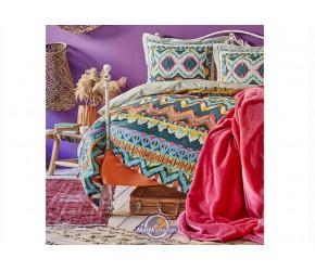 Набор постельное белье с покрывалом Karaca Home - Mishka fusya 2020-1 фуксия евро