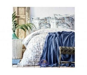 Набор постельного белья с пледом Karaca Home - Vella mavi 2020-1 голубой евро