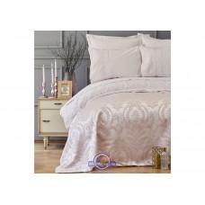 Набор постельного белья с покрывалом пике Karaca Home - Carla pudra 2019-2 пудра евро