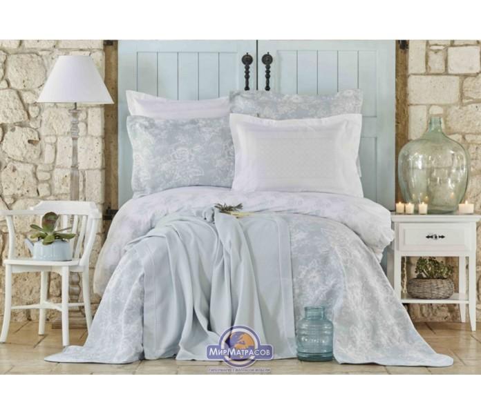Набор постельного белья с покрывалом + плед Karaca Home - Story New mavi 2018-2