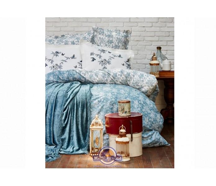 Набор постельного белья с покрывалом Karaca Home - Mathis turquise 2017-1 бирюзовый евро