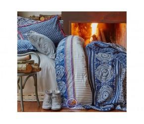 Постельное белье Karaca Home ранфорс - Navy blue 2017-1 голубой евро