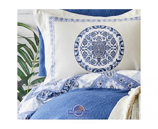 Набор постельного белья с покрывалом + плед Karaca Home - Levni mavi 2020-1 синий евро