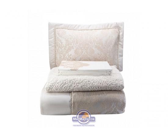 Набор постельного белья с покрывалом + плед Karaca Home - Eldora gold 2020-1 золотой евро
