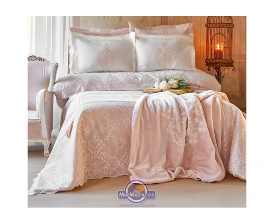 Набор постельного белья с покрывалом + плед Karaca Home - Desire pudra 2020-1 пудра евро