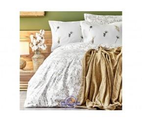 Набор постельного белья с пледом Karaca Home - Mano yesil 2020-1 зеленый евро