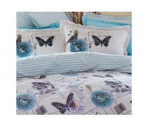 Постельное белье Karaca Home ранфорс - Birdy mavi голубой полуторное