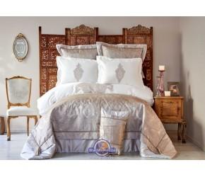Постельное белье Karaca Home Privat - Alessia bakir 2018-2 бежевый сатин евро