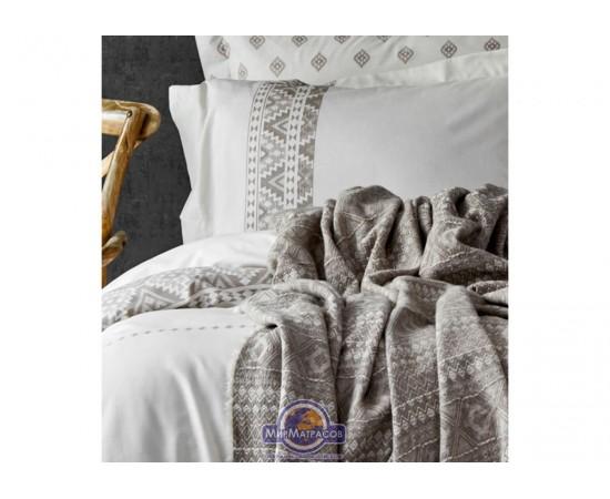 Набор постельного белья с пледом Karaca Home - Lera bej 2020-1 бежевый евро