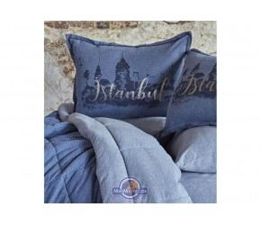 Набор постельного белья с одеялом Karaca Home - Istanbul indigo 2019-2 индиго евро