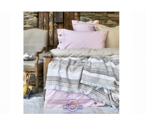 Набор постельного белья с пледом Karaca Home - Woodley pembe 2018-1