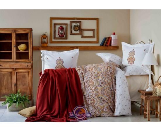 Постельное белье Karaca Home ранфорс - Paula kiremit 2019-2 кирпичный евро