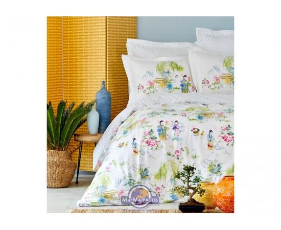 Постельное белье Karaca Home ранфорс - Hinata yesil 2019-2 зеленый евро