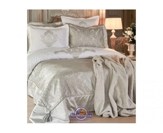Набор постельного белья с покрывалом + плед Karaca Home - Eldora gri 2020-1 серый евро