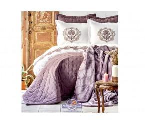 Набор постельного белья с покрывалом + плед Karaca Home - Chester murdum 2020-1 фиолетовый евро