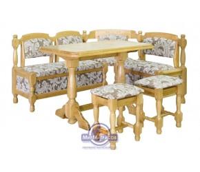 Кухонный угол Mebel Service из дерева дуба (угол+стол+табуретки)