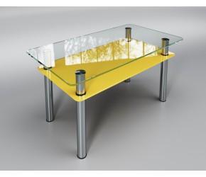 """Стеклянный стол Sentenzo """"Вега с полкой"""""""