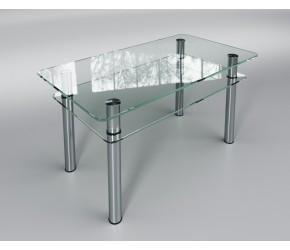 """Стеклянный стол Sentenzo """"Кристалл мини с полкой"""""""