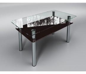 """Стеклянный стол Sentenzo """" Вега с полкой  коричневый"""""""