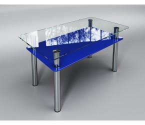 """Стеклянный стол Sentenzo """"Вега с полкой  синий"""""""