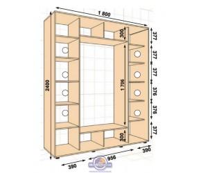 """Шкаф-купе 1800х600х2400 на 3 фасада """"ШК-05"""""""