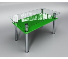 """Стеклянный стол Sentenzo """" Вега с полкой  зеленый"""""""